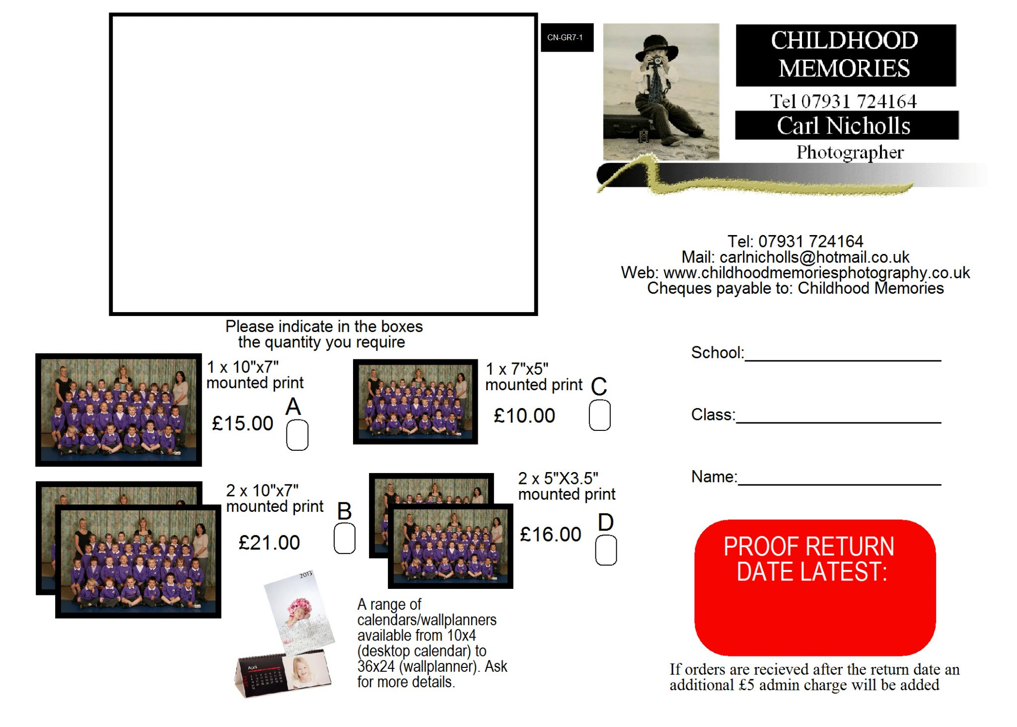Form for ordering class photos